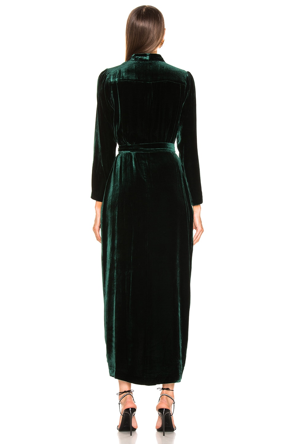 Image 4 of L'AGENCE Reliah Long Sleeve Wrap Dress in Forest Green