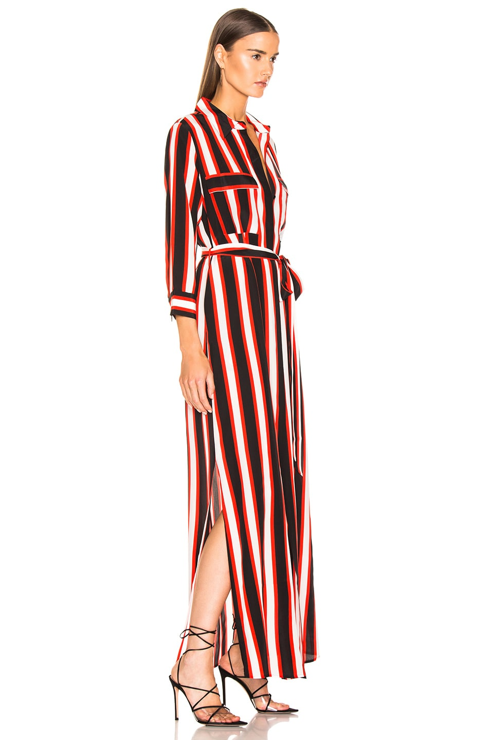 Image 2 of L'AGENCE Cameron Long Shirt Dress in Flame Red Multi