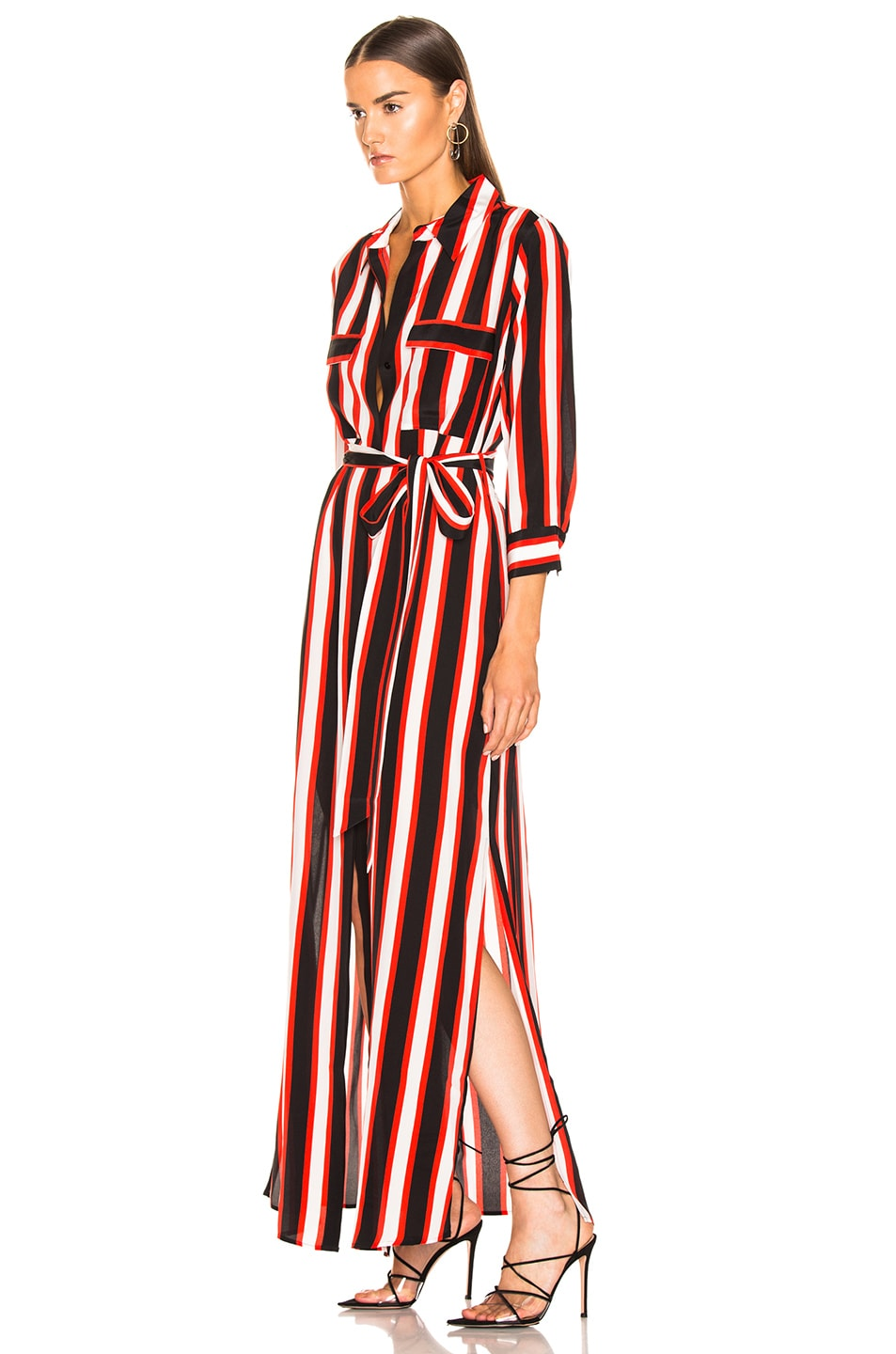 Image 3 of L'AGENCE Cameron Long Shirt Dress in Flame Red Multi