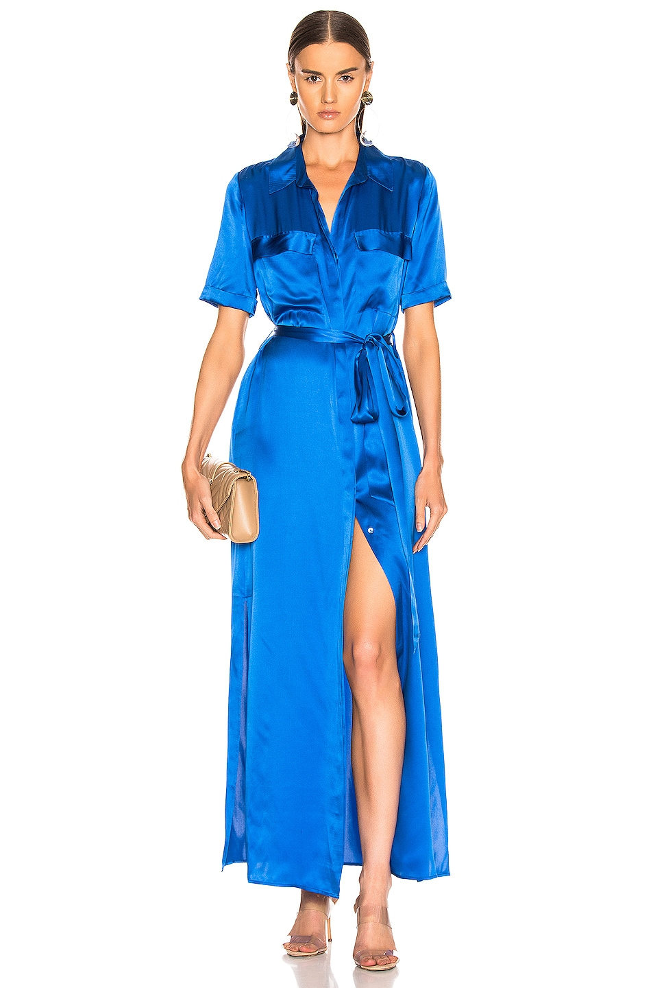 Image 1 of L'AGENCE Klement Cargo Pocket Dress in Riviera Blue