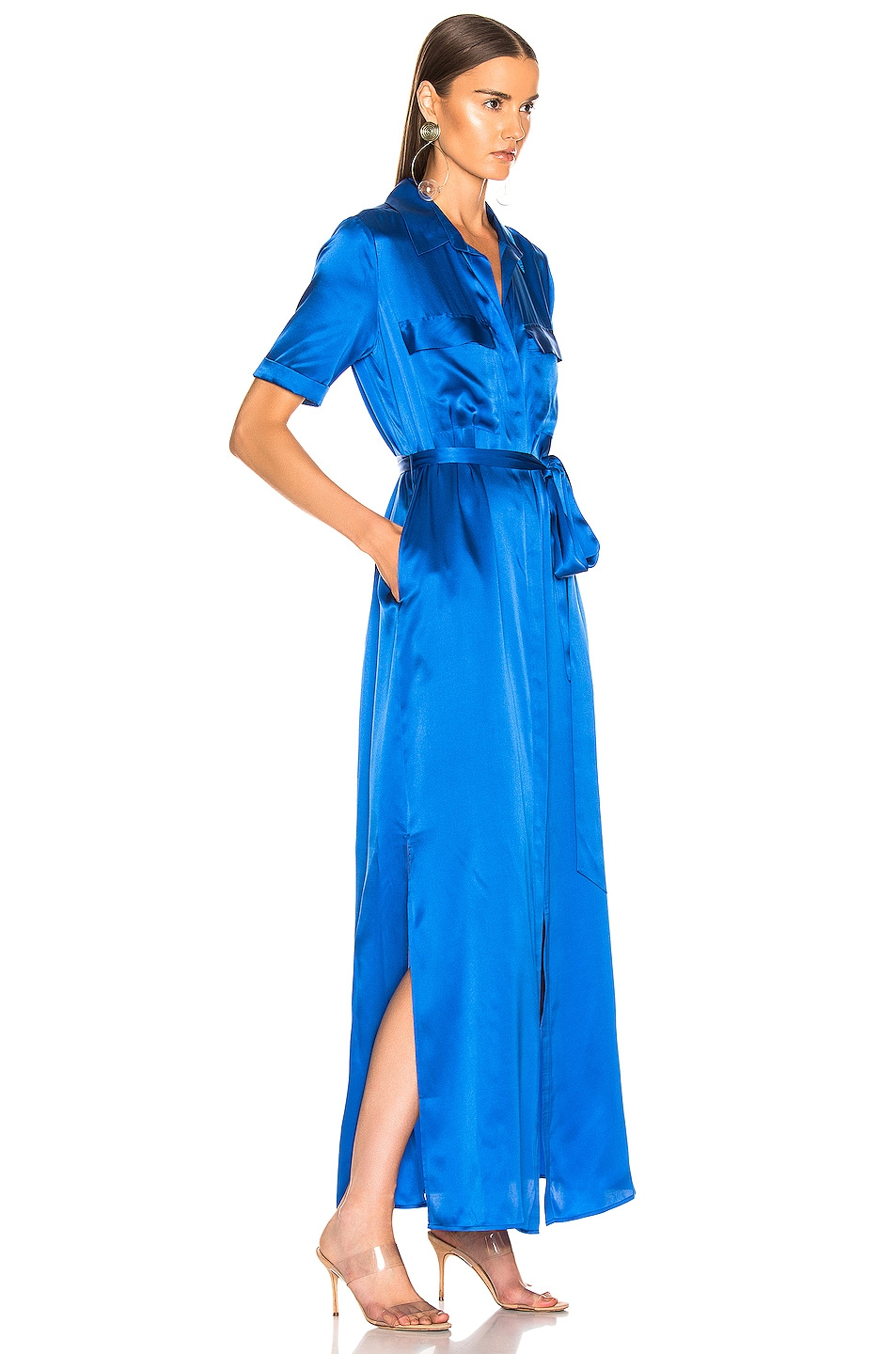 Image 2 of L'AGENCE Klement Cargo Pocket Dress in Riviera Blue