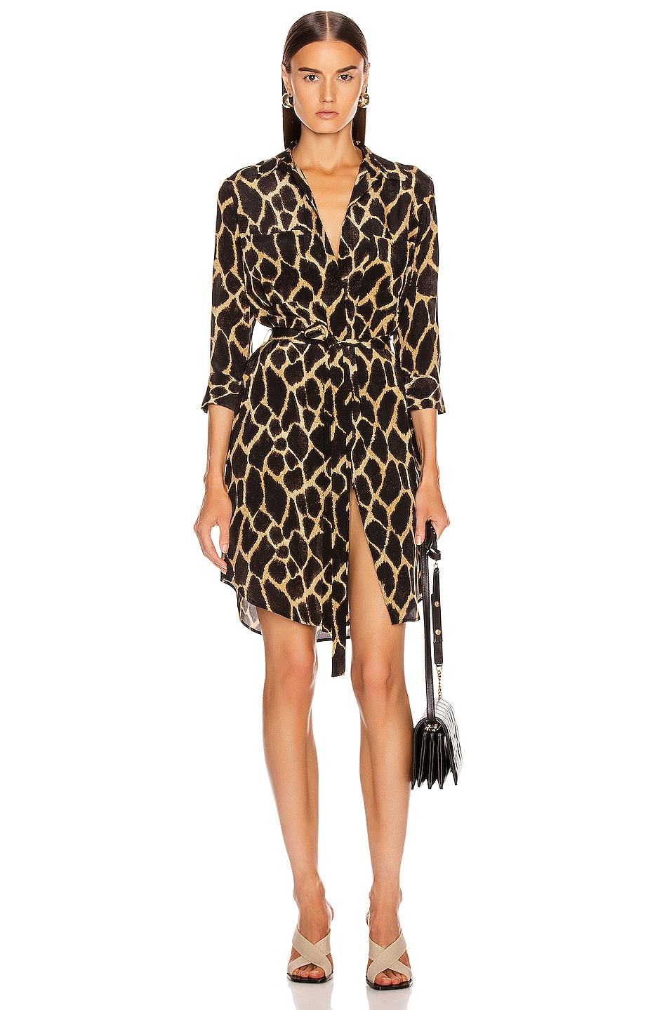 Image 1 of L'AGENCE Stella Short Shirt Dress in Sienna Safari