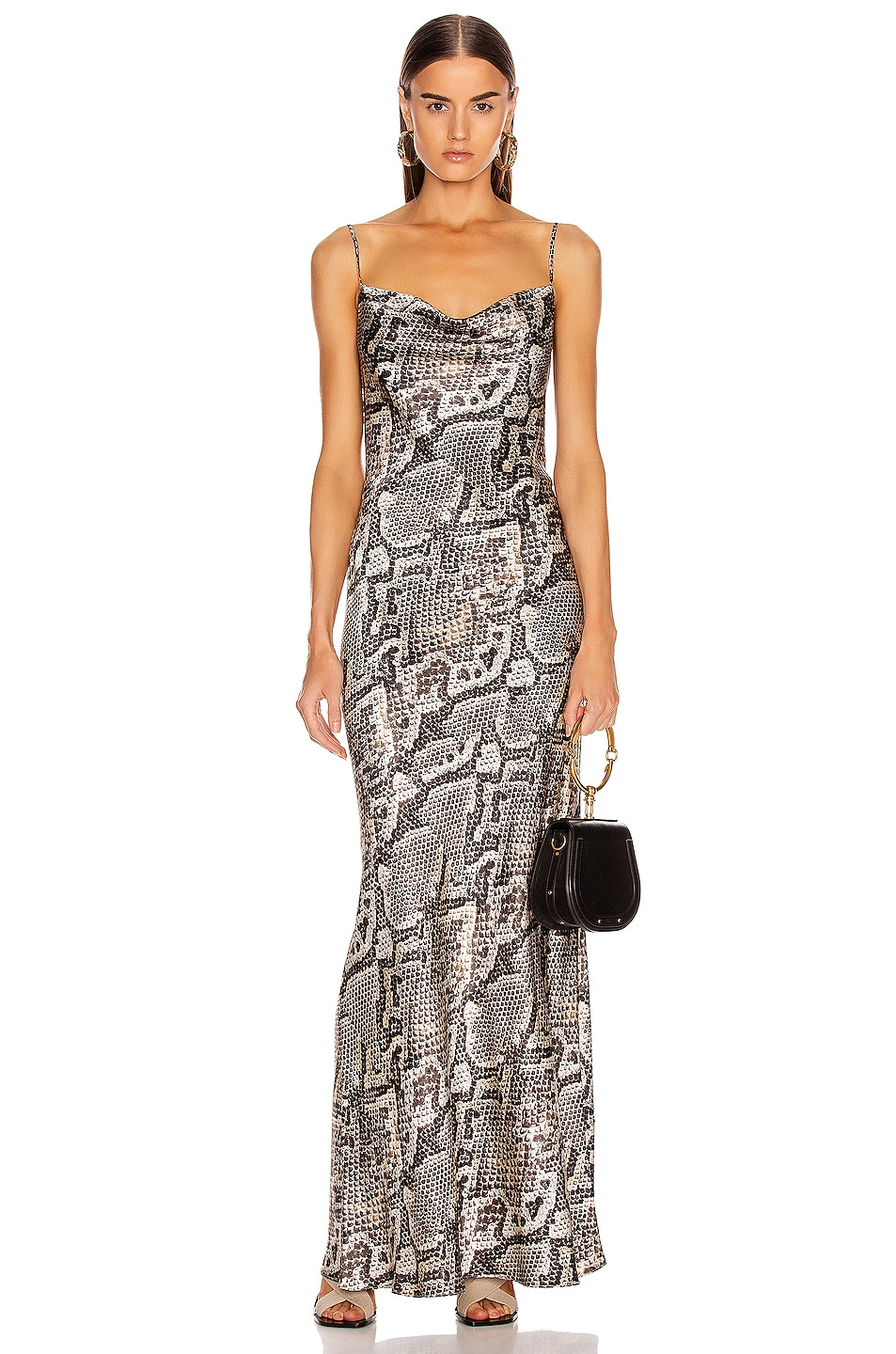 Image 1 of L'AGENCE Arianne Bias Maxi Slip Dress in Natural Multi Python