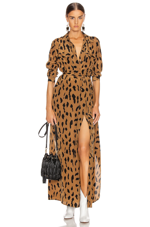 Image 1 of L'AGENCE Cameron Long Shirt Dress in Camel & Black Animal