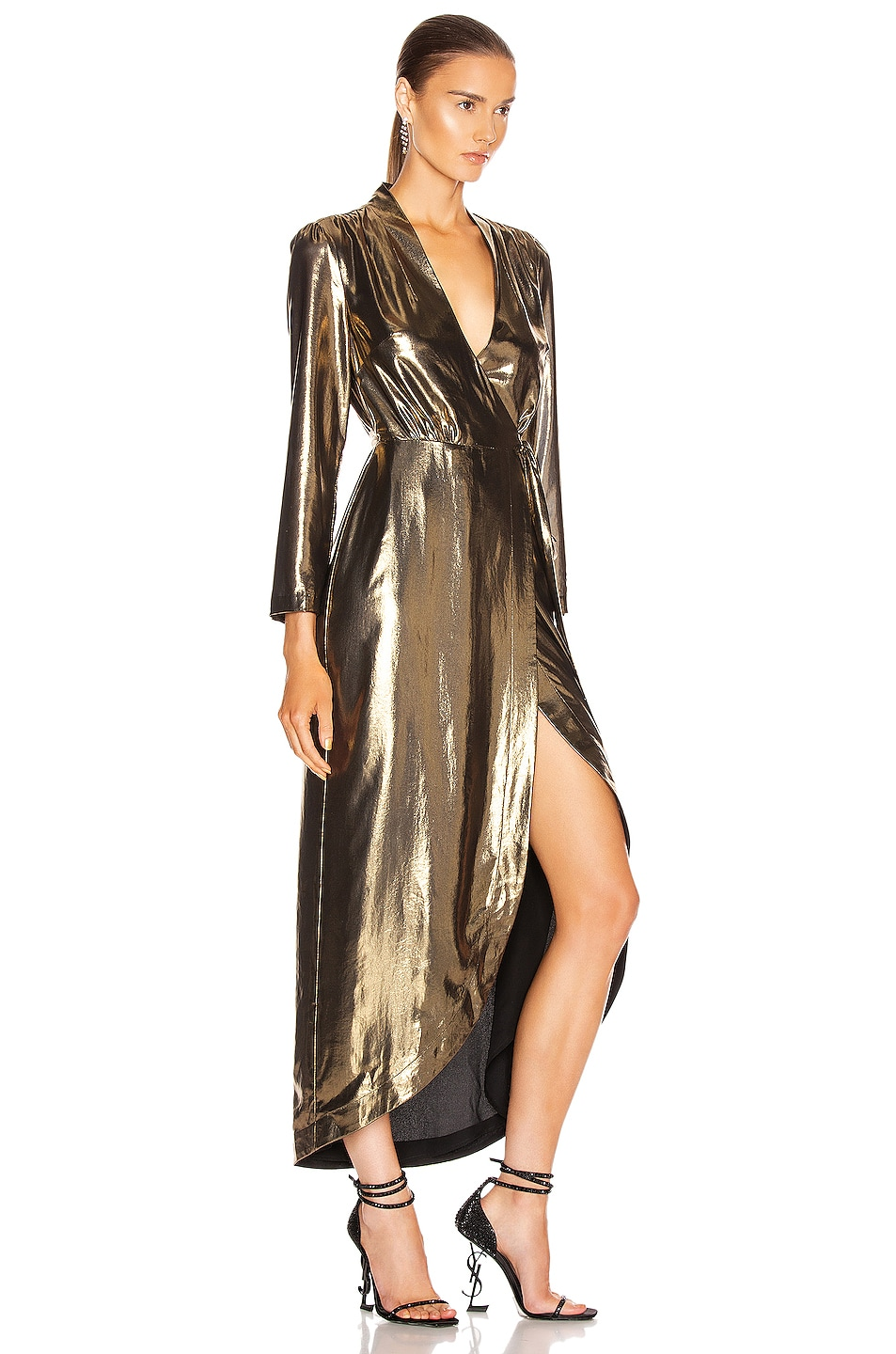 Image 2 of L'AGENCE Reliah Wrap Dress in Gold & Black