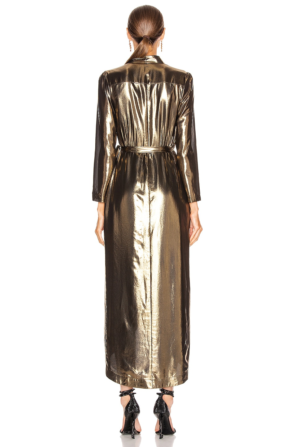Image 3 of L'AGENCE Reliah Wrap Dress in Gold & Black