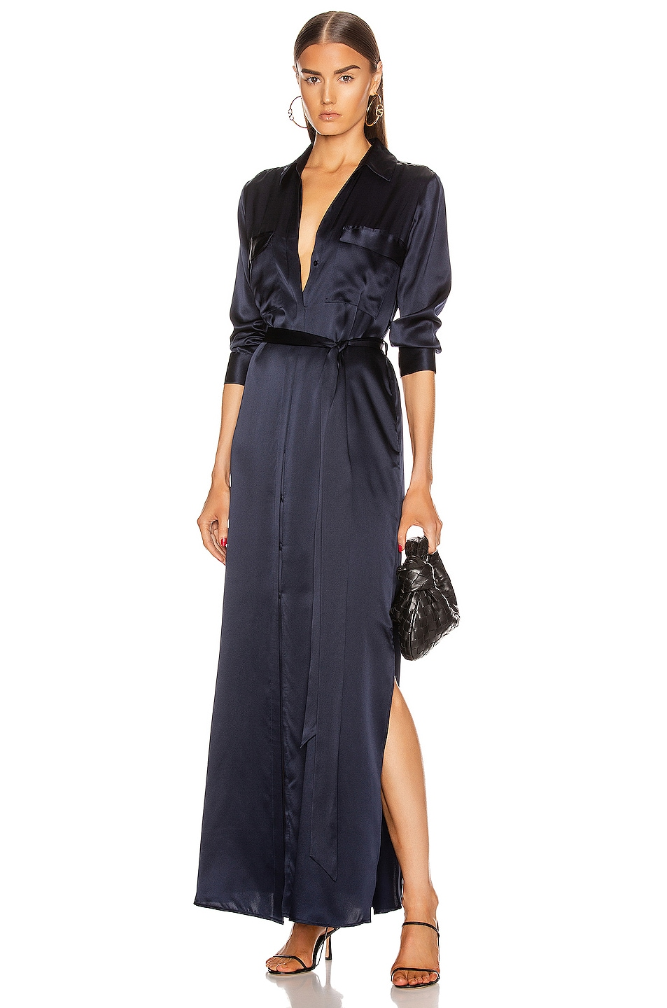 Image 1 of L'AGENCE Cameron Long Shirt Dress in Midnight