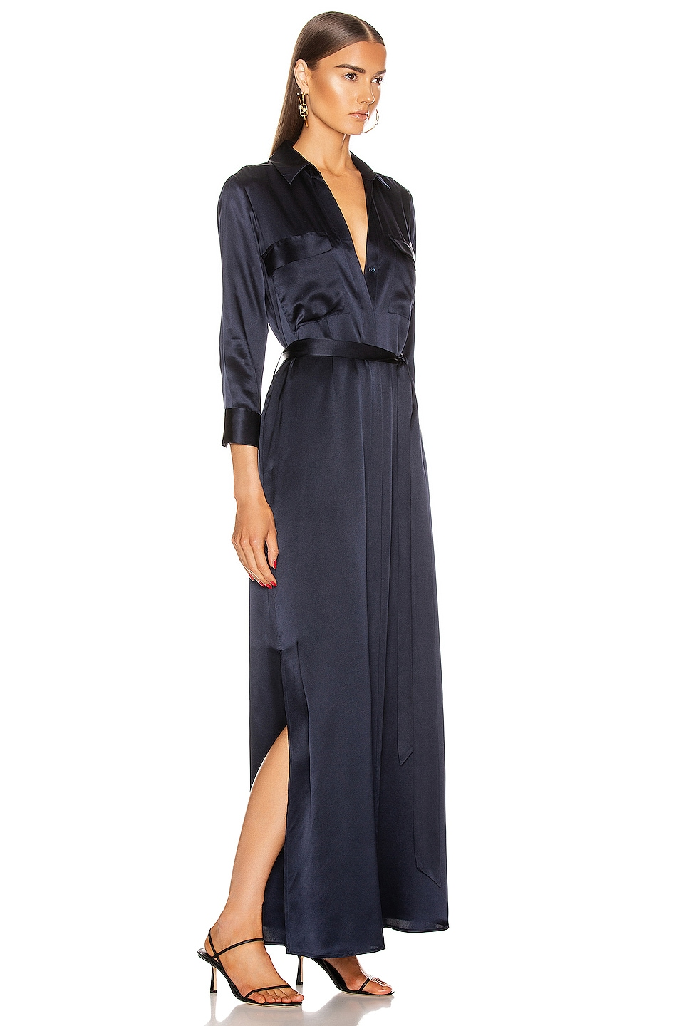 Image 2 of L'AGENCE Cameron Long Shirt Dress in Midnight