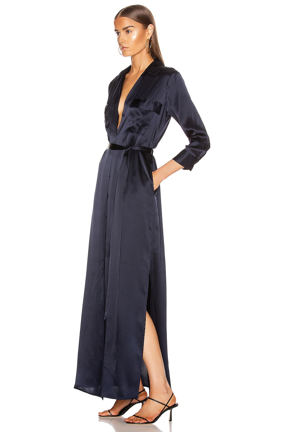 Image 3 of L'AGENCE Cameron Long Shirt Dress in Midnight