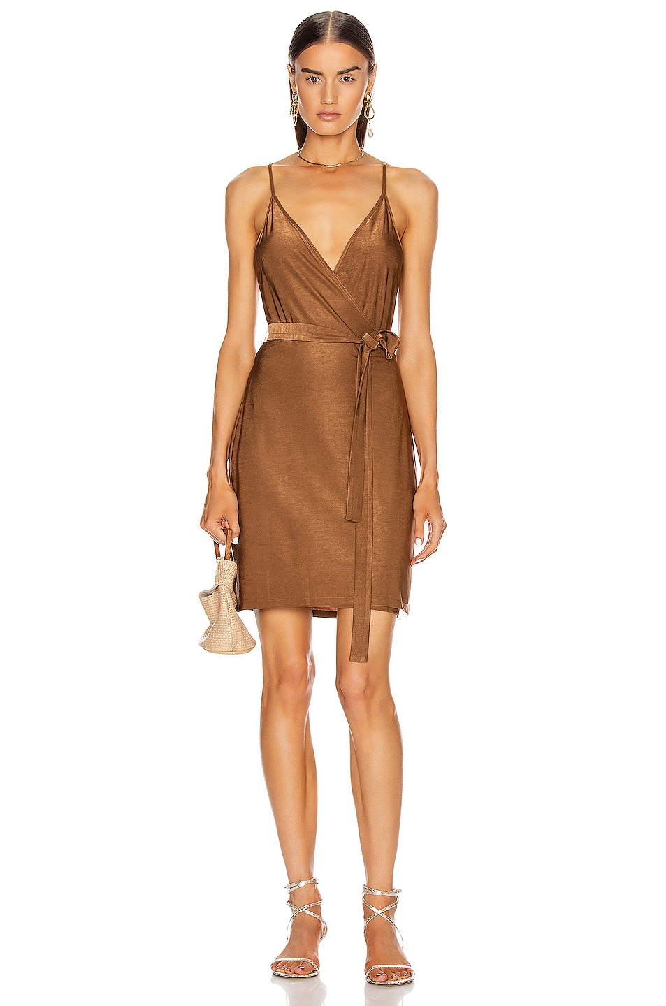 Image 1 of L'AGENCE Tate Wrap Dress in Copper