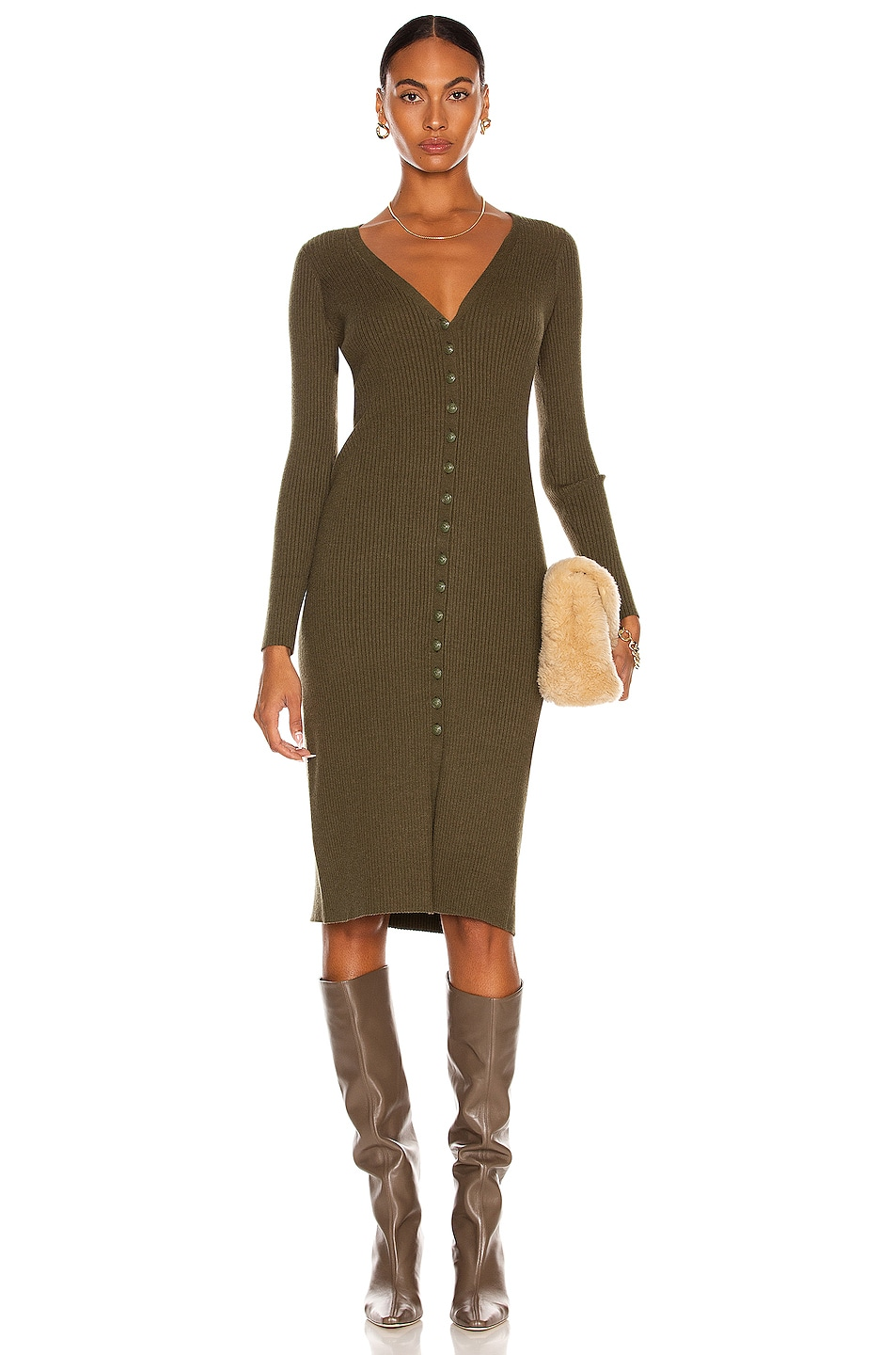 Image 1 of L'AGENCE Maci Button Duster Cardigan Dress in Ivy Green