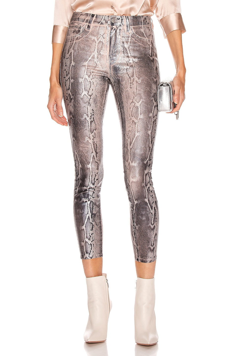 Image 1 of L'AGENCE Margot High Rise Skinny in Petal & Black Snake Skin Foil
