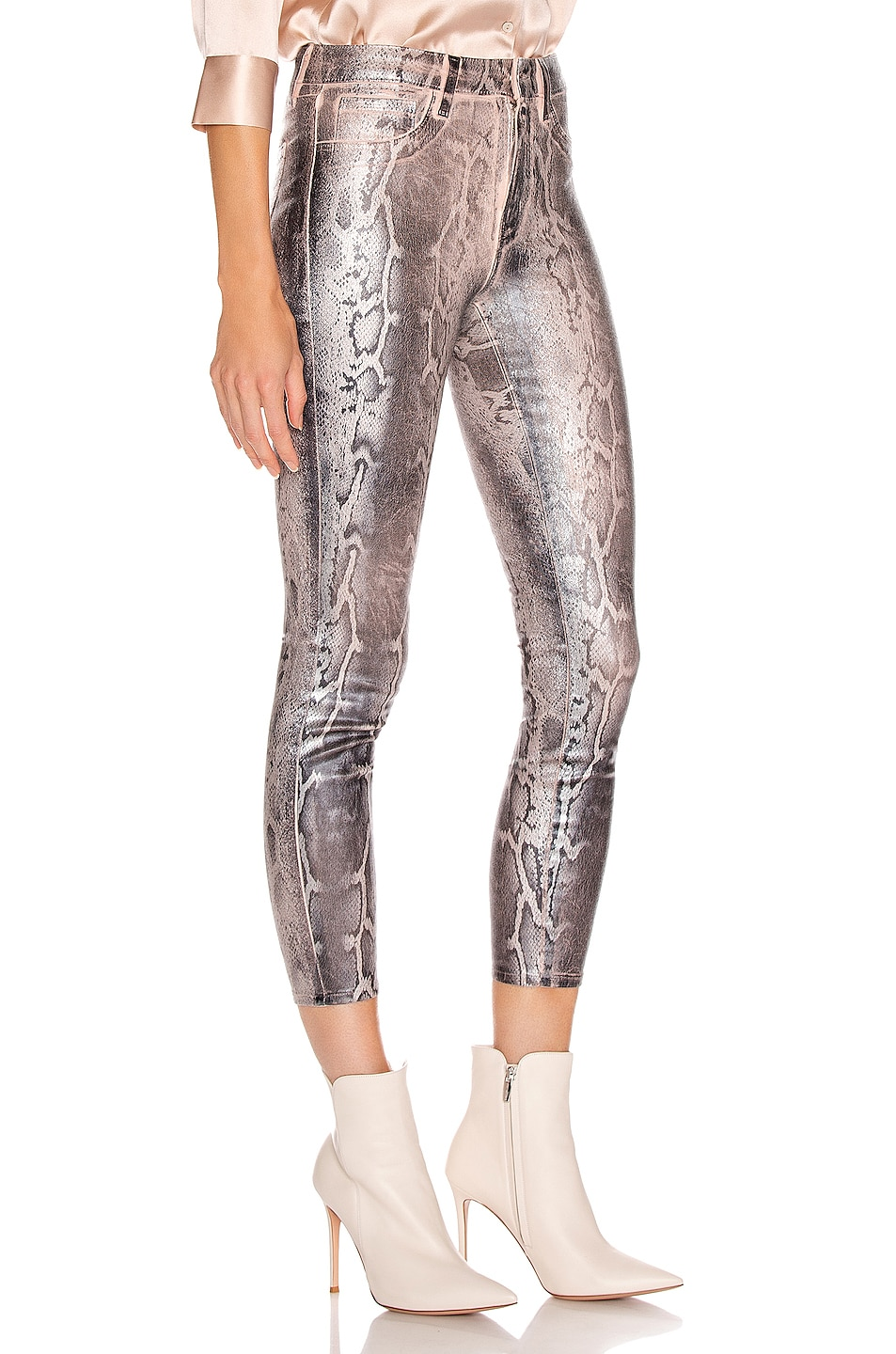 Image 2 of L'AGENCE Margot High Rise Skinny in Petal & Black Snake Skin Foil