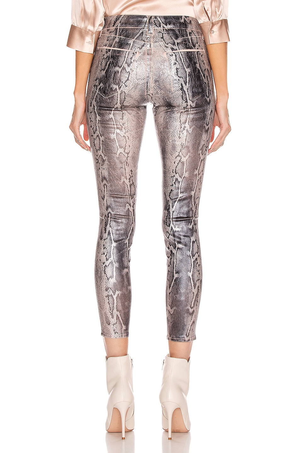 Image 3 of L'AGENCE Margot High Rise Skinny in Petal & Black Snake Skin Foil