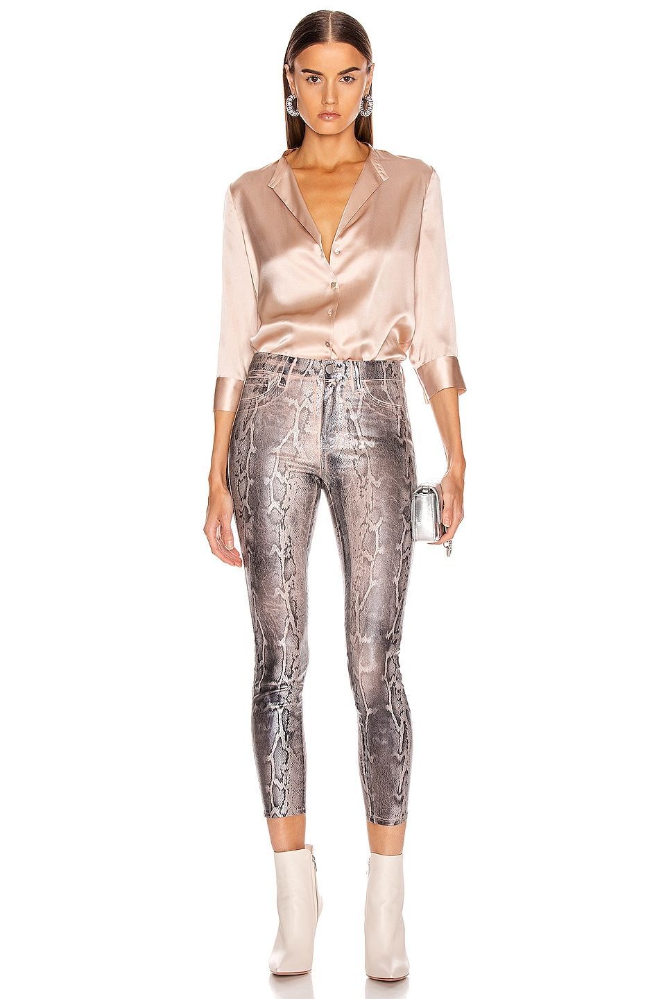 Image 4 of L'AGENCE Margot High Rise Skinny in Petal & Black Snake Skin Foil