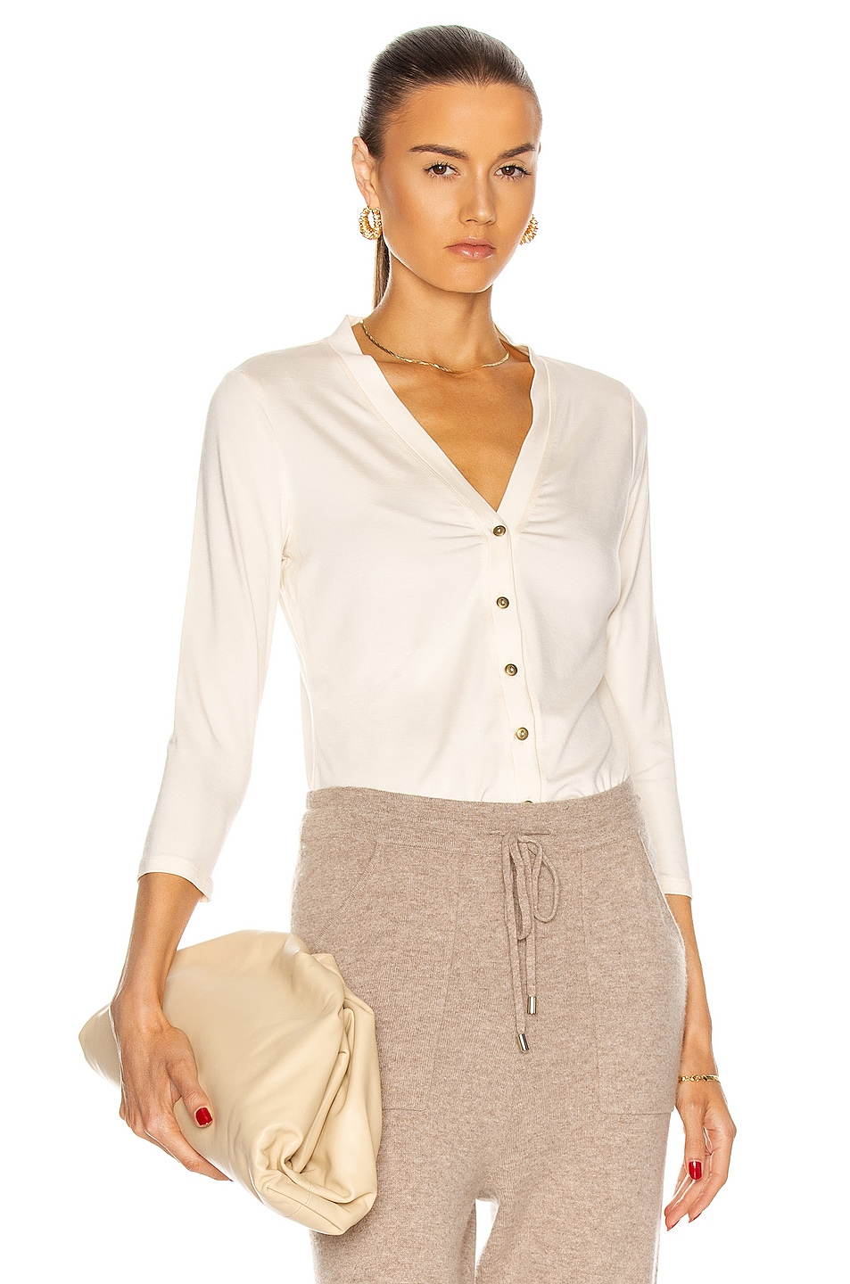 Image 1 of L'AGENCE Britney 3/4 Sleeve Cardigan in Vintage White