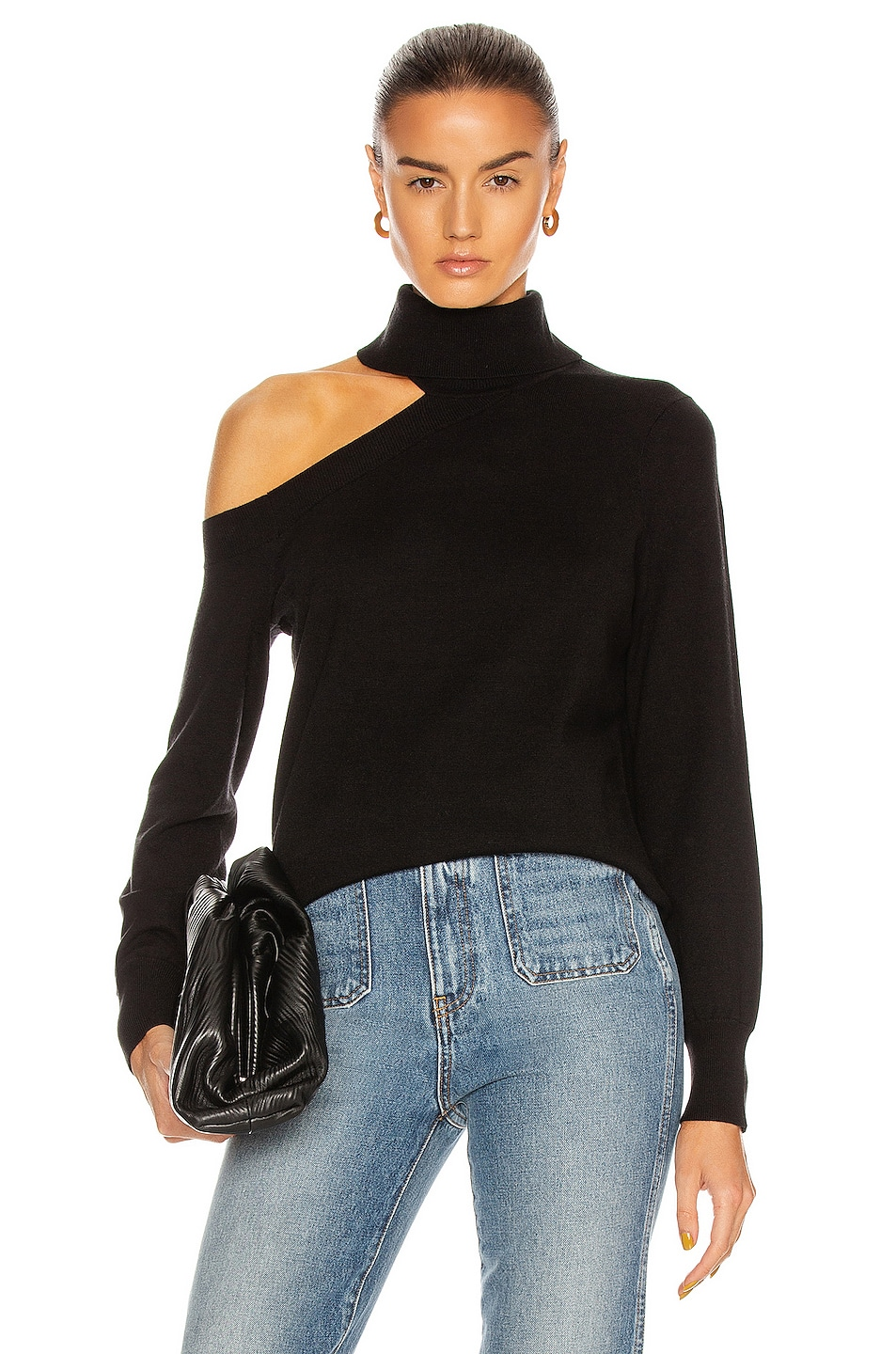 Image 1 of L'AGENCE Easton One Shoulder Sweater in Black