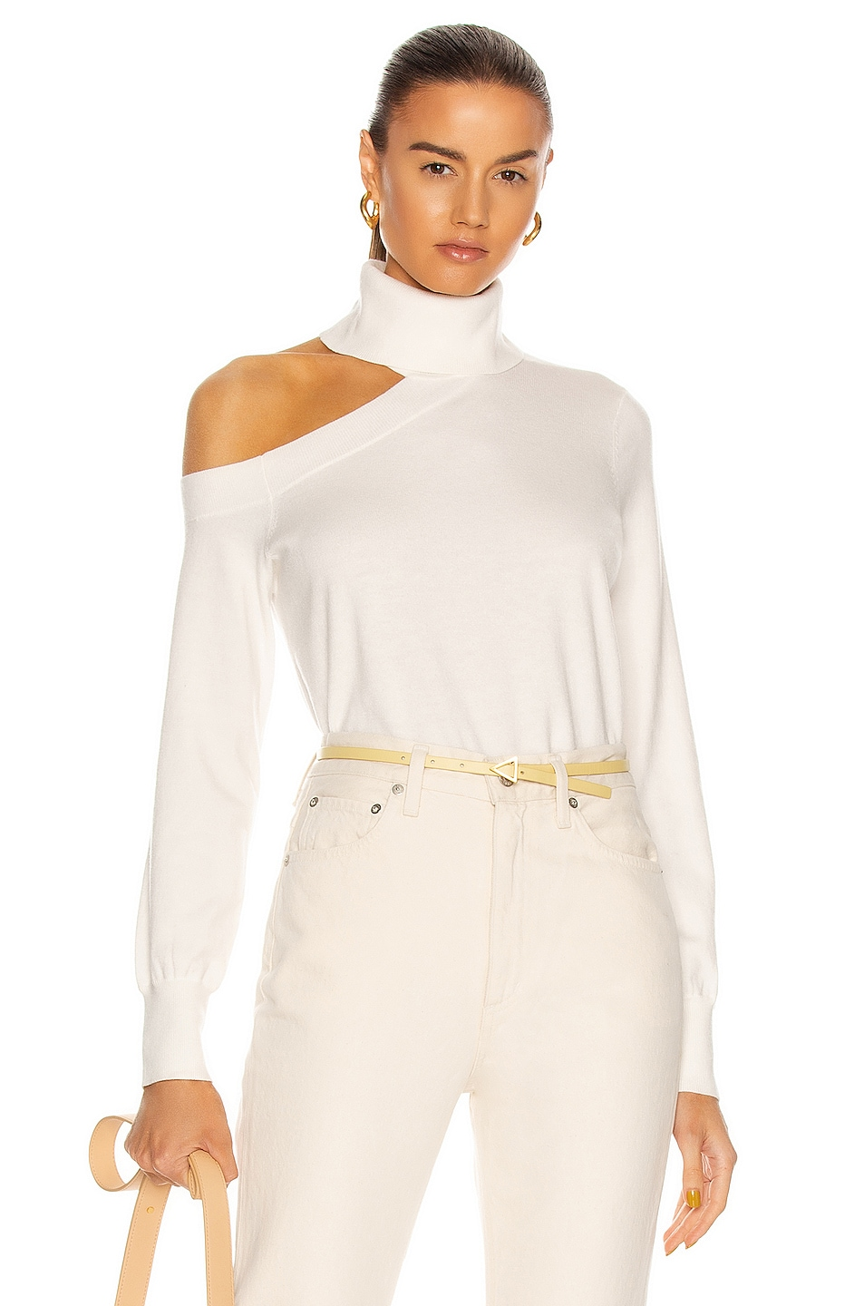 Image 1 of L'AGENCE Easton One Shoulder Sweater in Ivory