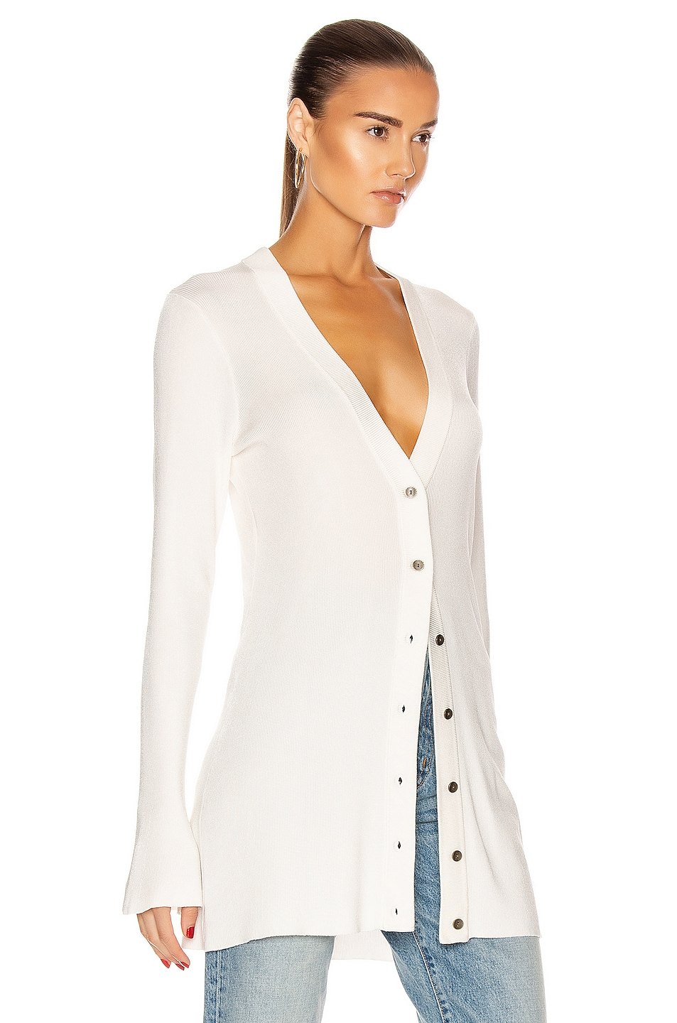 Image 2 of L'AGENCE Lucas Long Cardigan Top in Ivory
