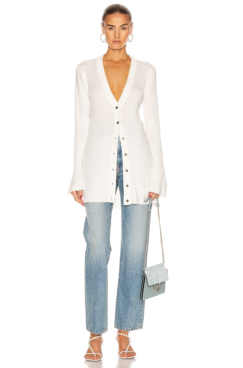 Image 4 of L'AGENCE Lucas Long Cardigan Top in Ivory