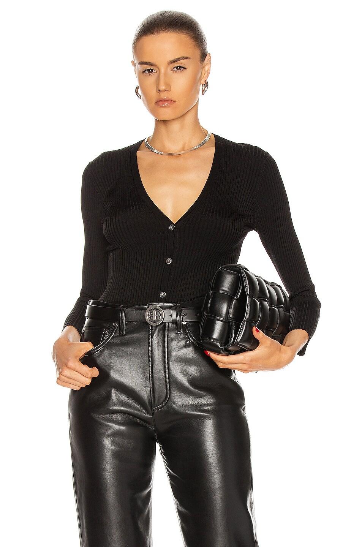 Image 1 of L'AGENCE Isabella 3/4 Sleeve V-Neck Cardigan in Black