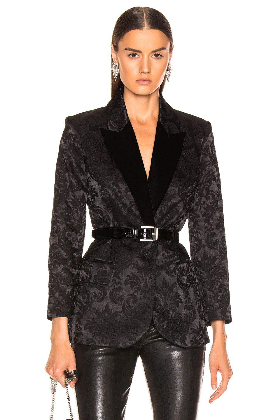 Image 1 of L'AGENCE Neval Blazer With Contrast Lapel in Black & Black