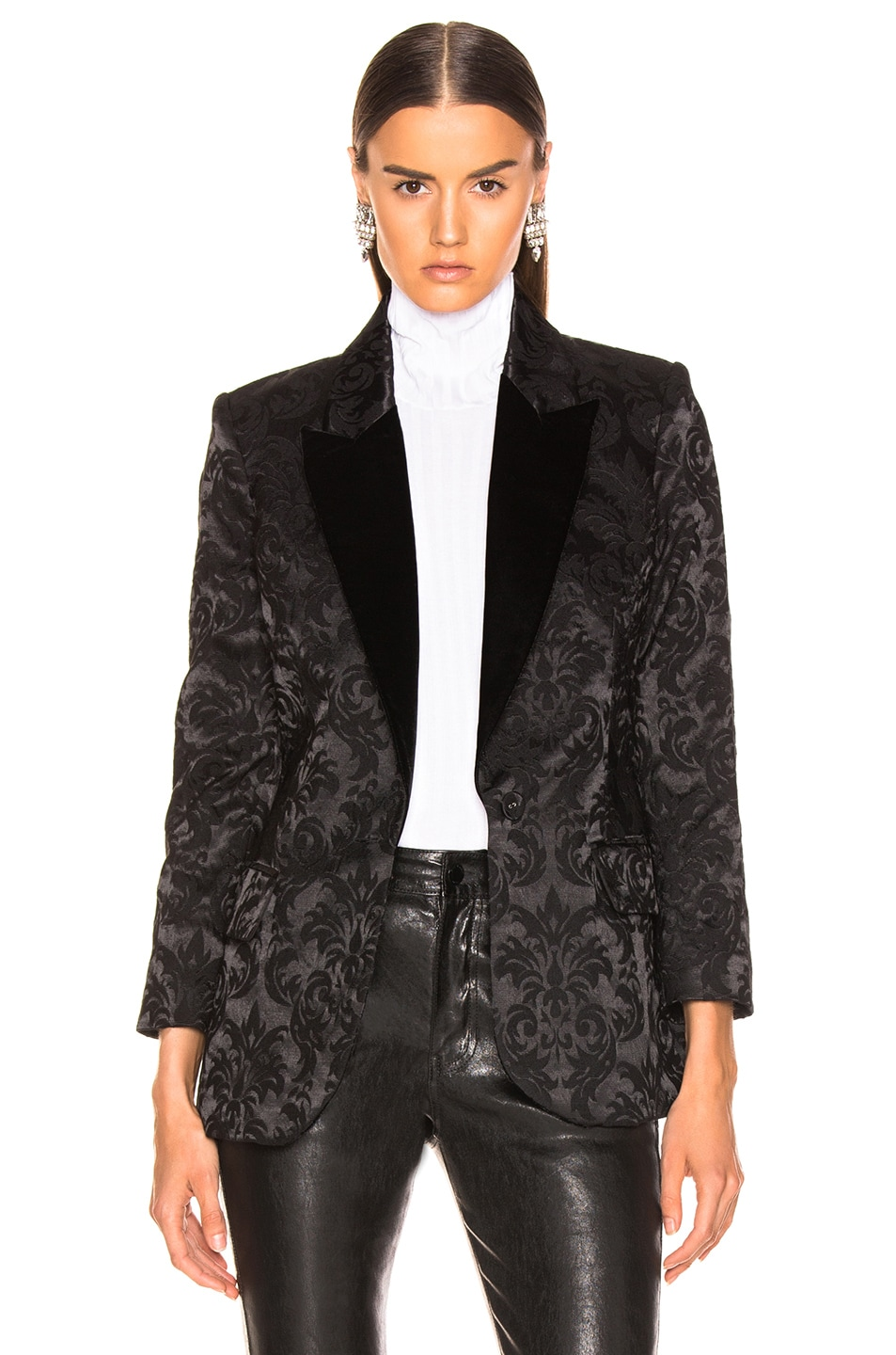 Image 2 of L'AGENCE Neval Blazer With Contrast Lapel in Black & Black