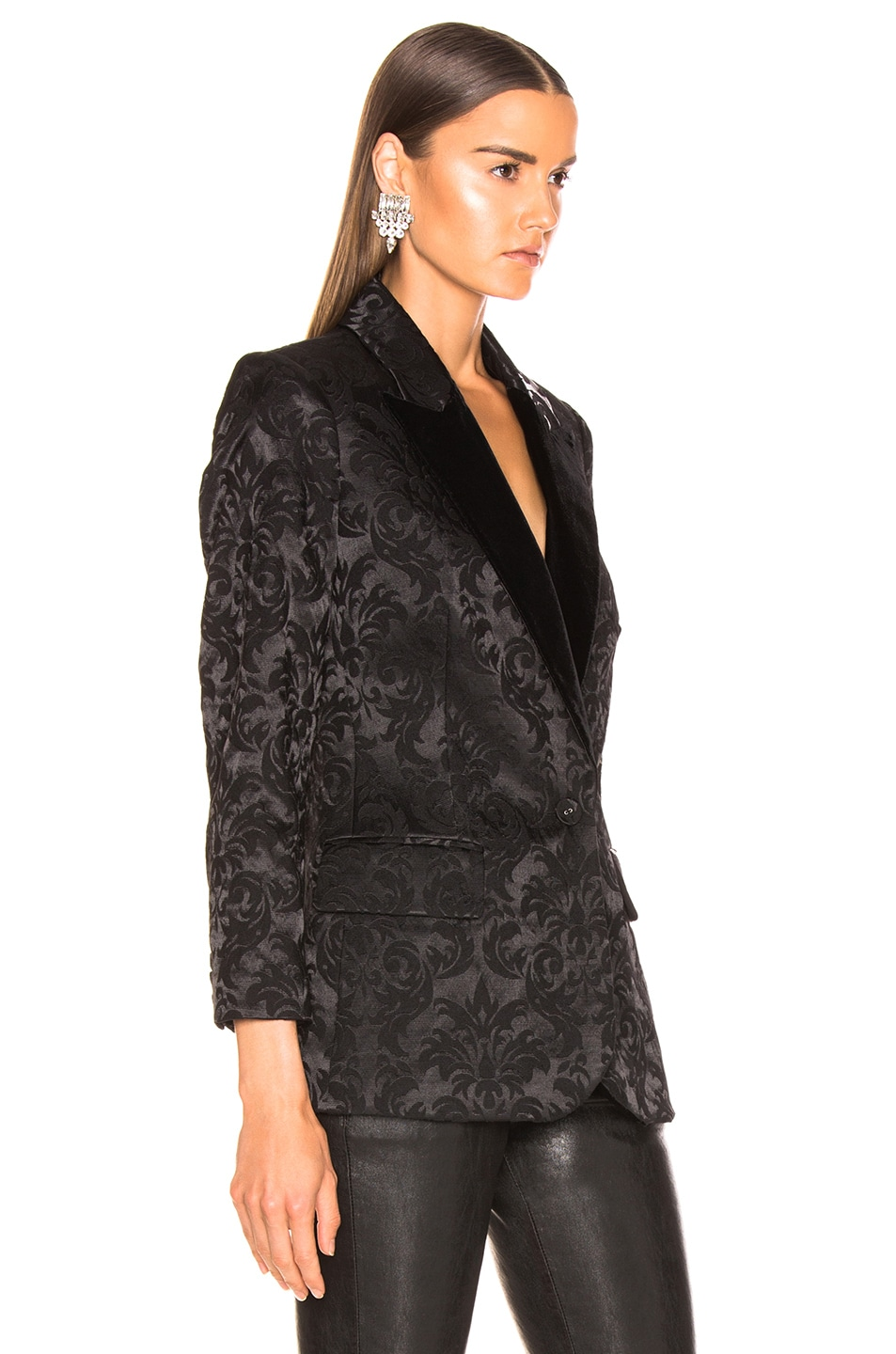 Image 3 of L'AGENCE Neval Blazer With Contrast Lapel in Black & Black