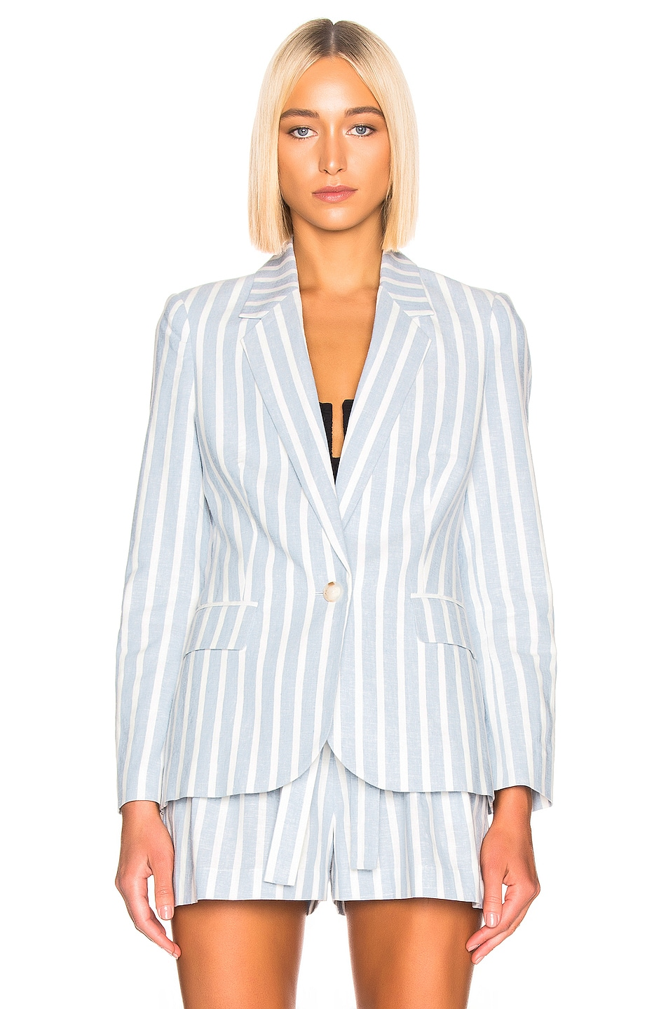 Image 2 of L'AGENCE Scout Blazer in Light Blue & Ivory