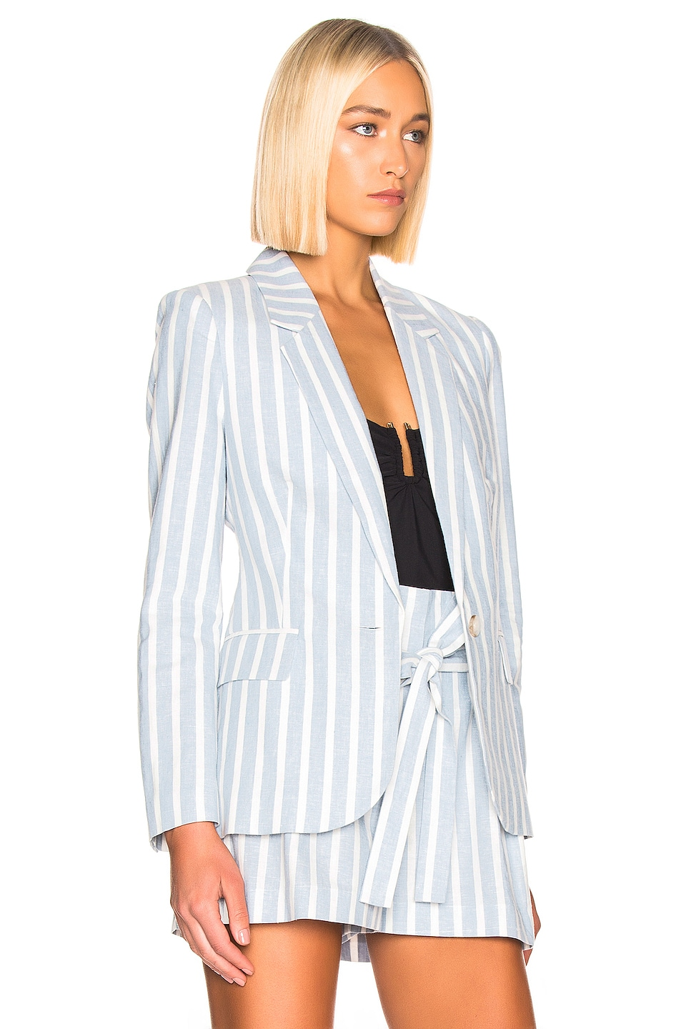 Image 3 of L'AGENCE Scout Blazer in Light Blue & Ivory