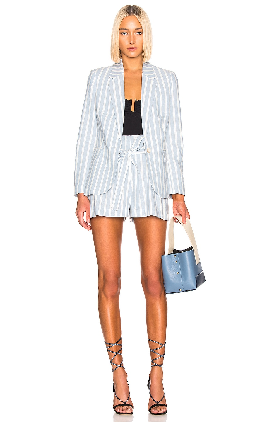 Image 5 of L'AGENCE Scout Blazer in Light Blue & Ivory