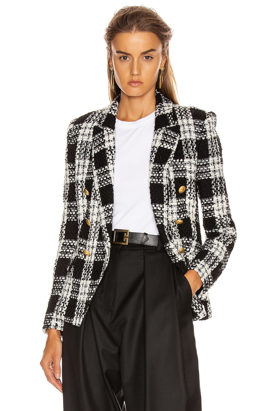 Image 1 of L'AGENCE Kenzie Double Breasted Blazer in Ivory & Black