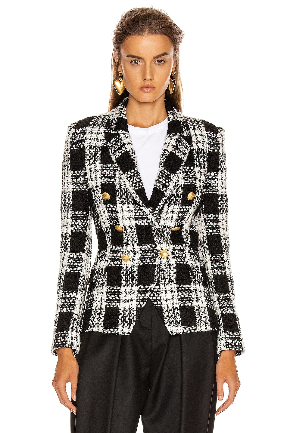 Image 2 of L'AGENCE Kenzie Double Breasted Blazer in Ivory & Black