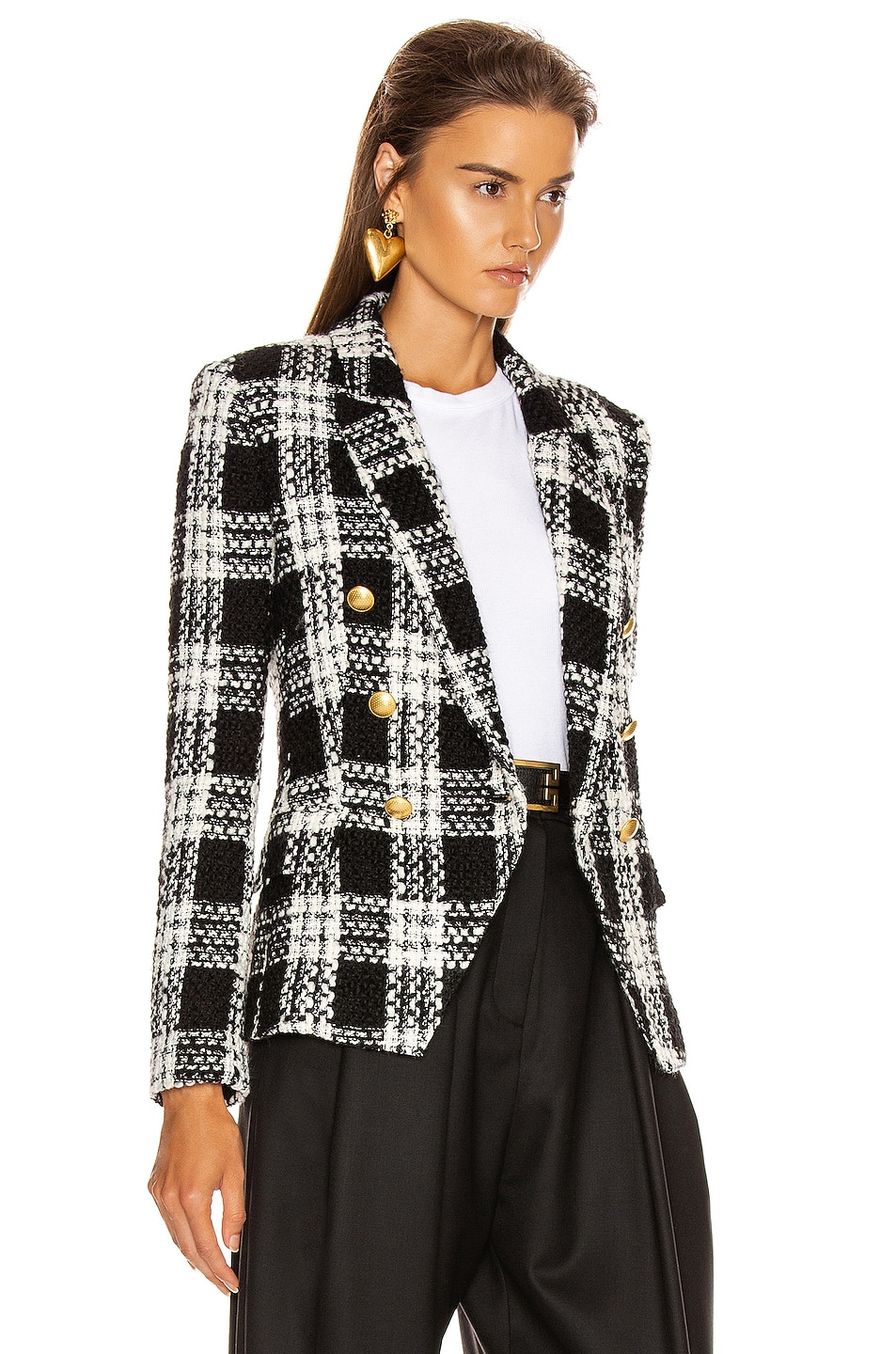 Image 3 of L'AGENCE Kenzie Double Breasted Blazer in Ivory & Black