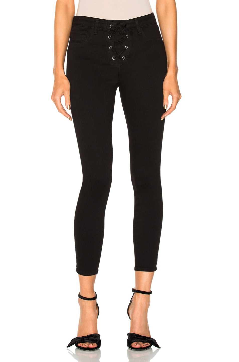 35a7a62fd36f0c Image 1 of L'AGENCE Cherie Lace Up Pants in Black