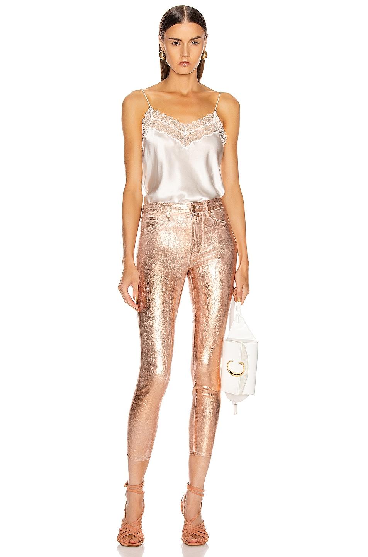 Image 4 of L'AGENCE Margot High Rise Skinny in Petal & Light Rose Gold Foil