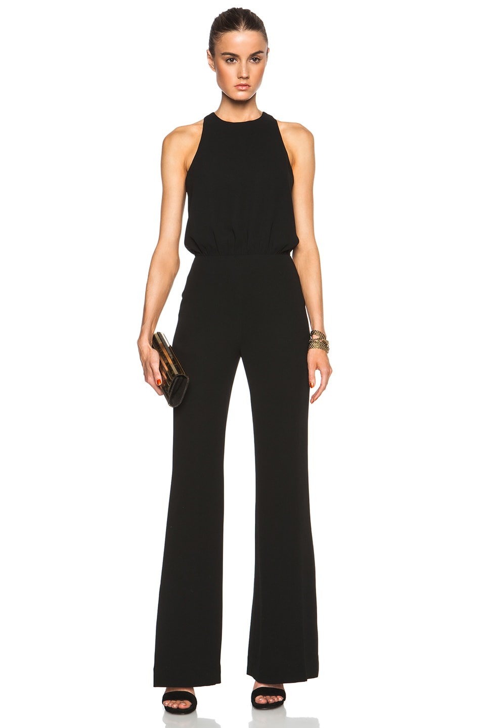 Image 1 of L'AGENCE Crossback Wide Leg Jumpsuit in Black