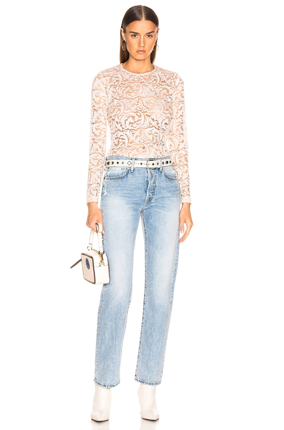 Image 4 of L'AGENCE Annika Scoop Neck Long Sleeve Top in Champagne