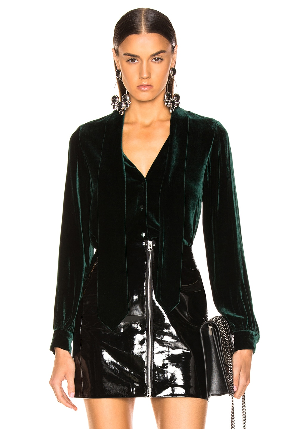Image 1 of L'AGENCE Gisele Neck Tie Blouse in Forest Green