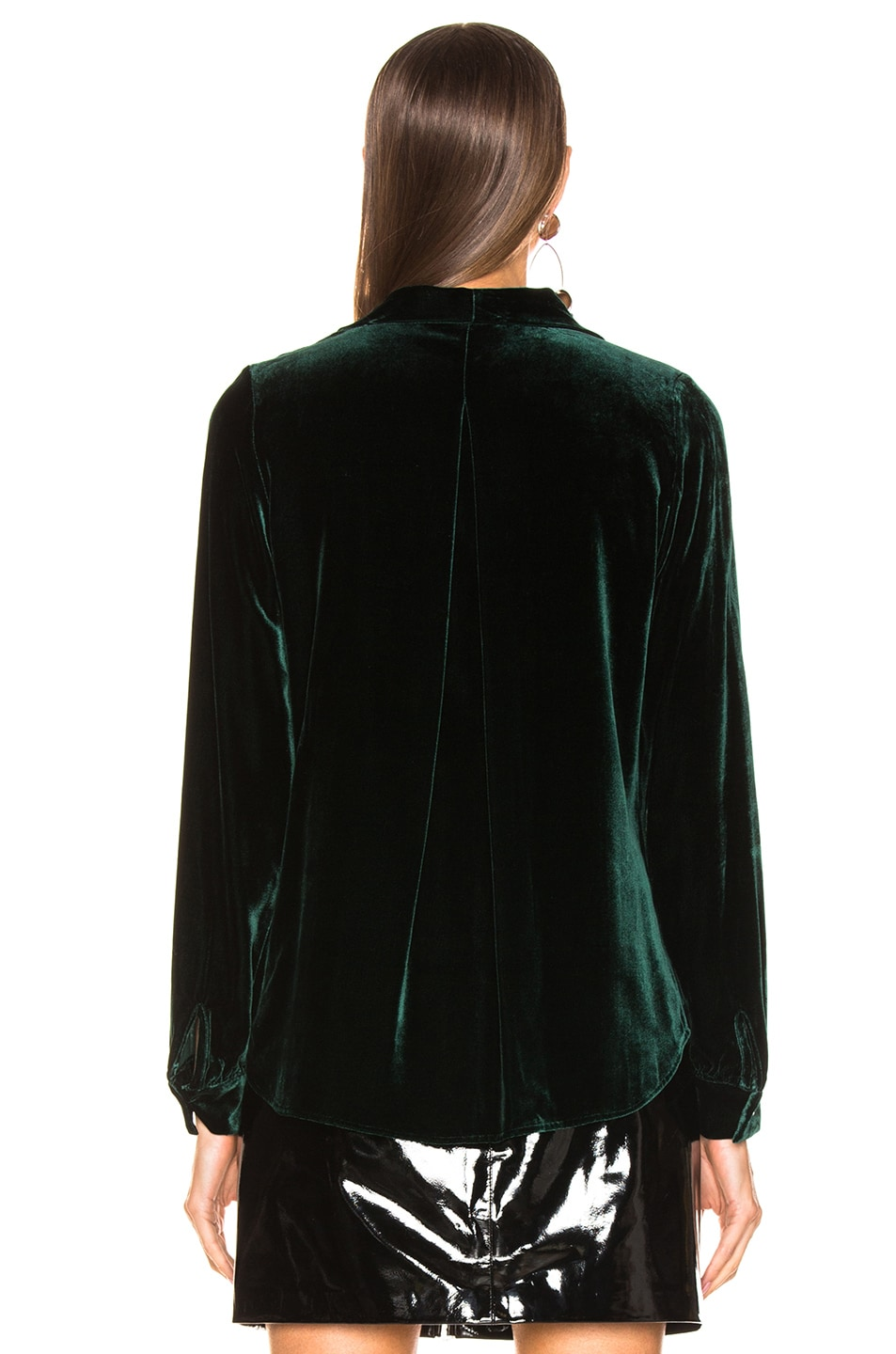 Image 3 of L'AGENCE Gisele Neck Tie Blouse in Forest Green