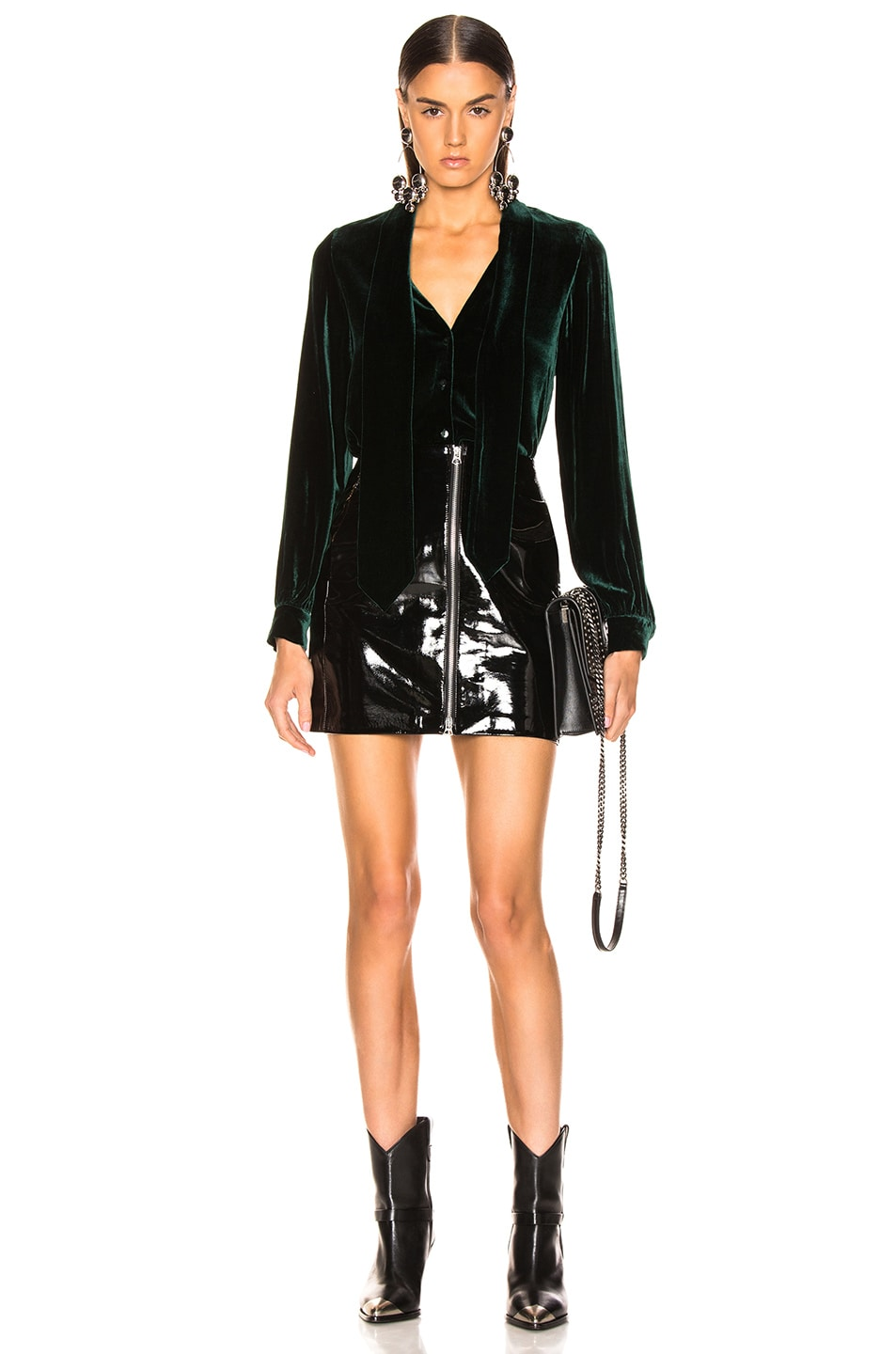 Image 4 of L'AGENCE Gisele Neck Tie Blouse in Forest Green