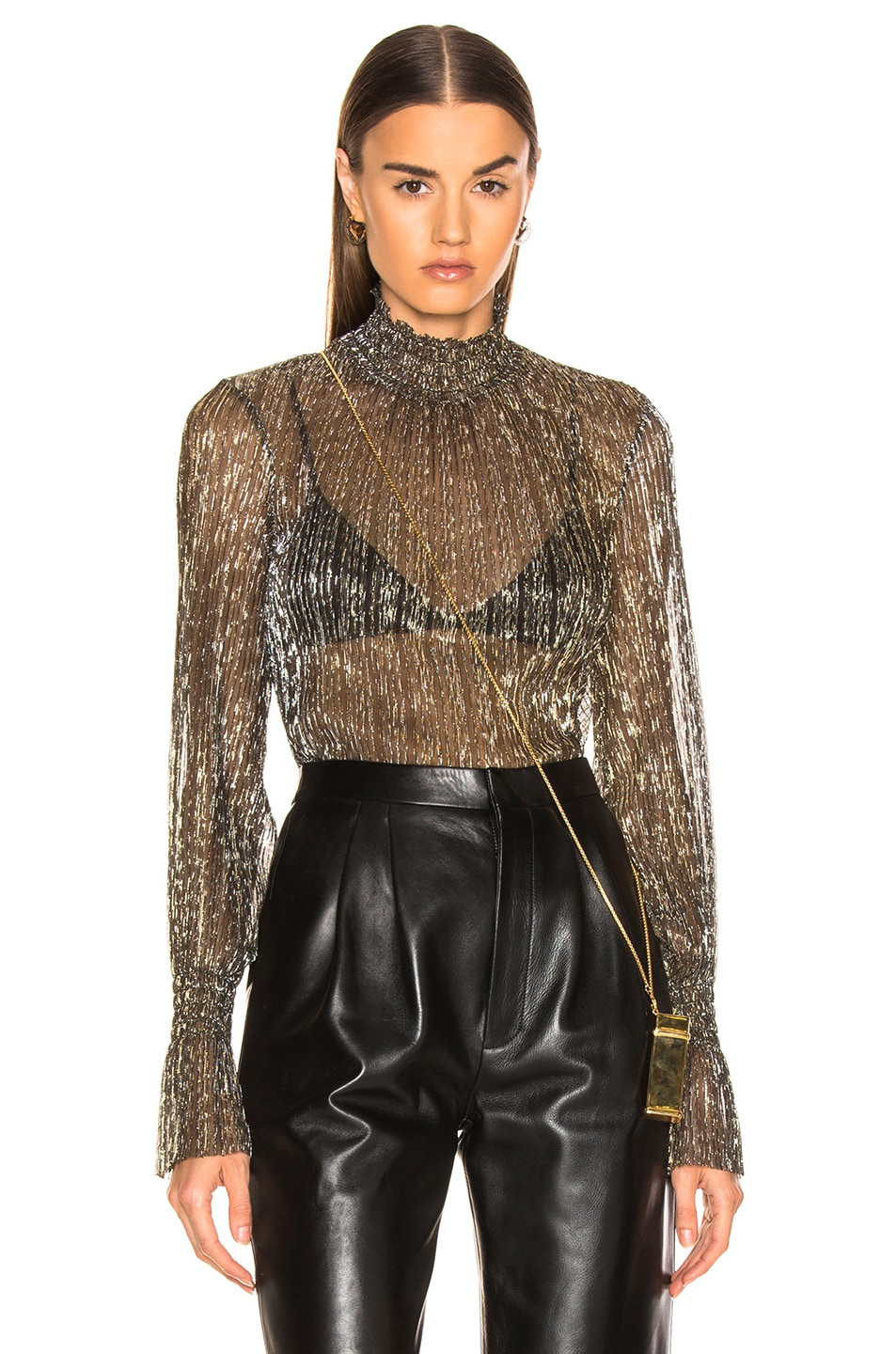 Image 1 of L'AGENCE Paola Long Sleeve Turtle Neck Blouse in Gold Metallic