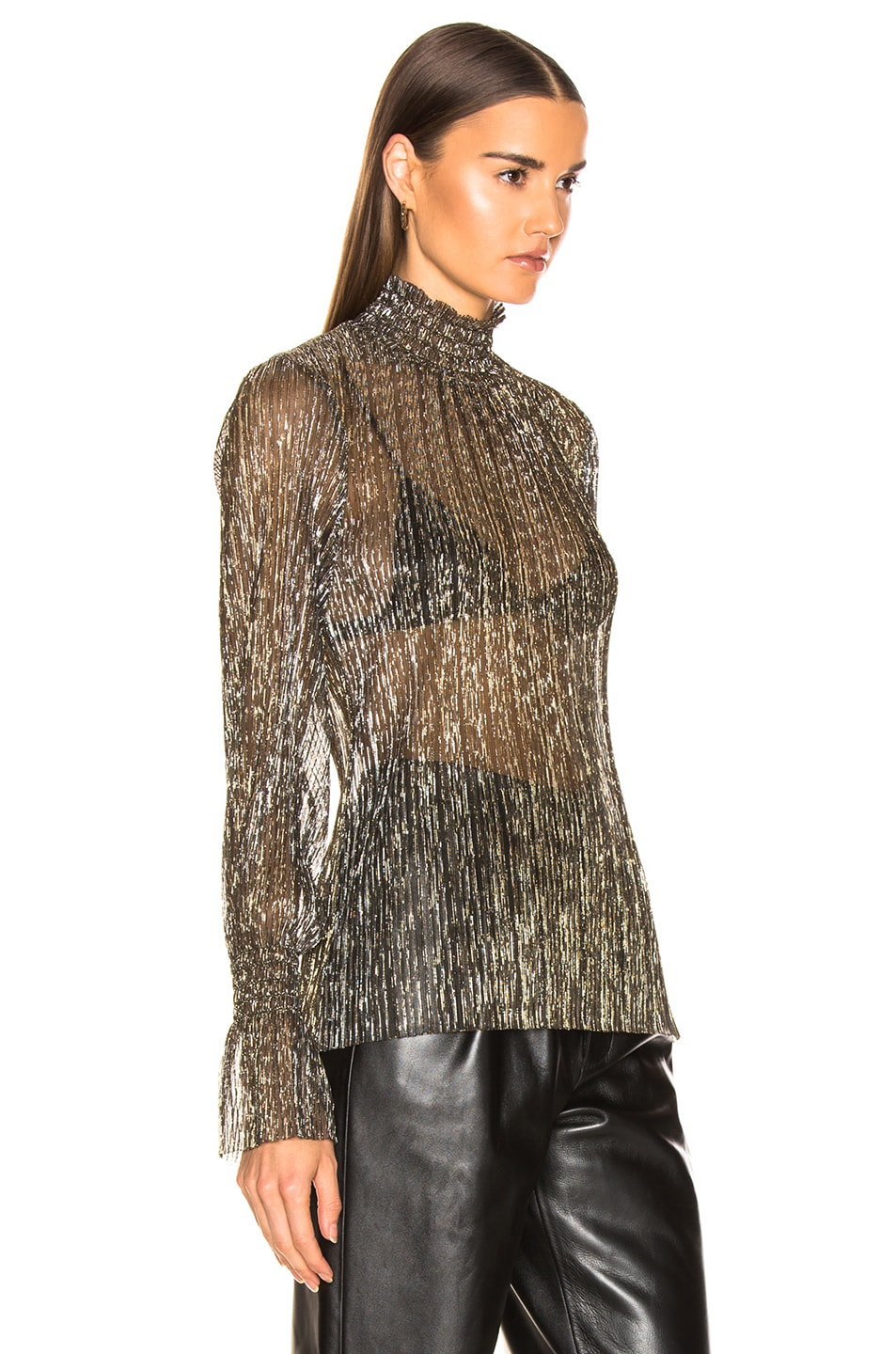 Image 2 of L'AGENCE Paola Long Sleeve Turtle Neck Blouse in Gold Metallic
