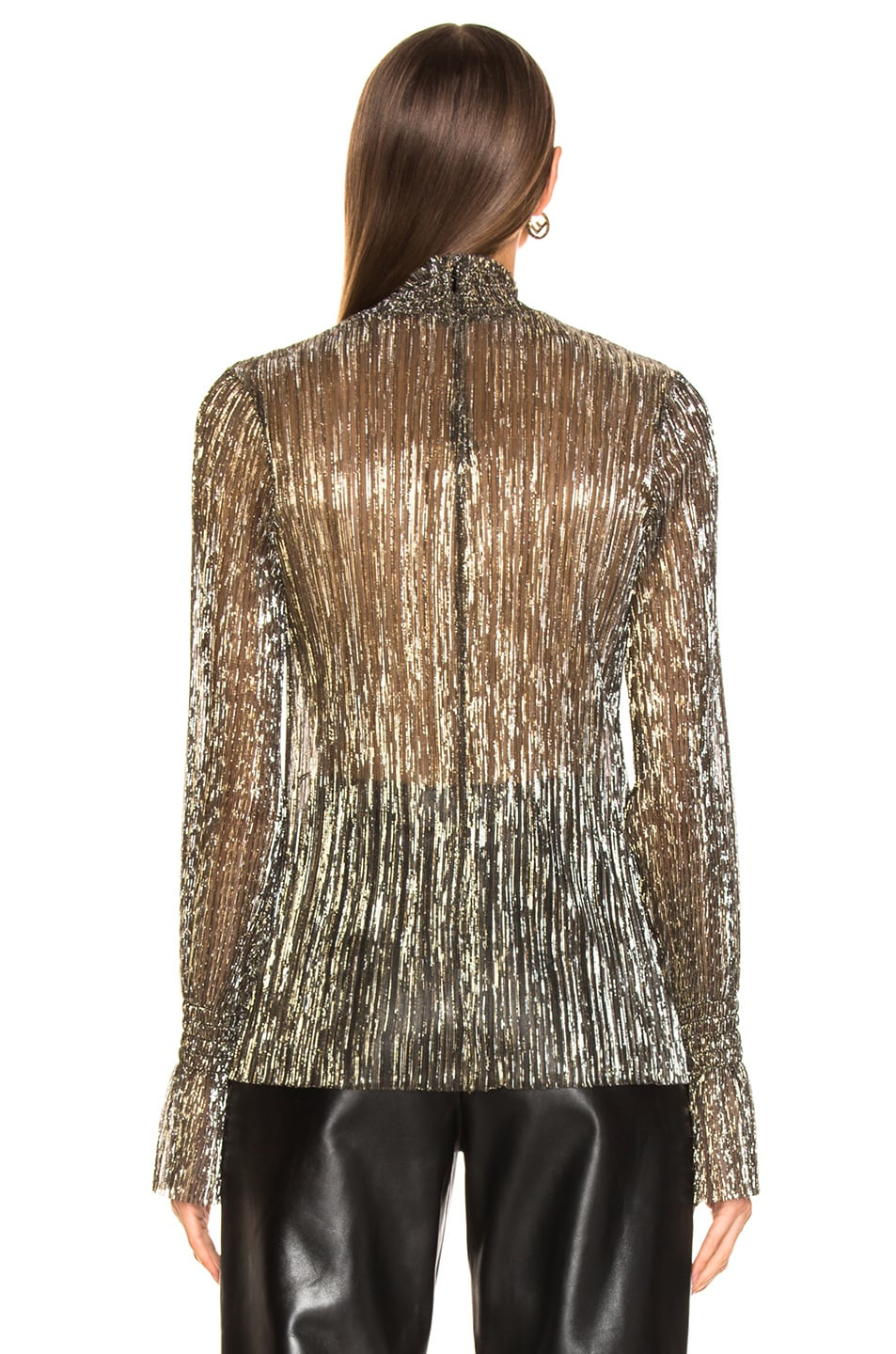 Image 3 of L'AGENCE Paola Long Sleeve Turtle Neck Blouse in Gold Metallic