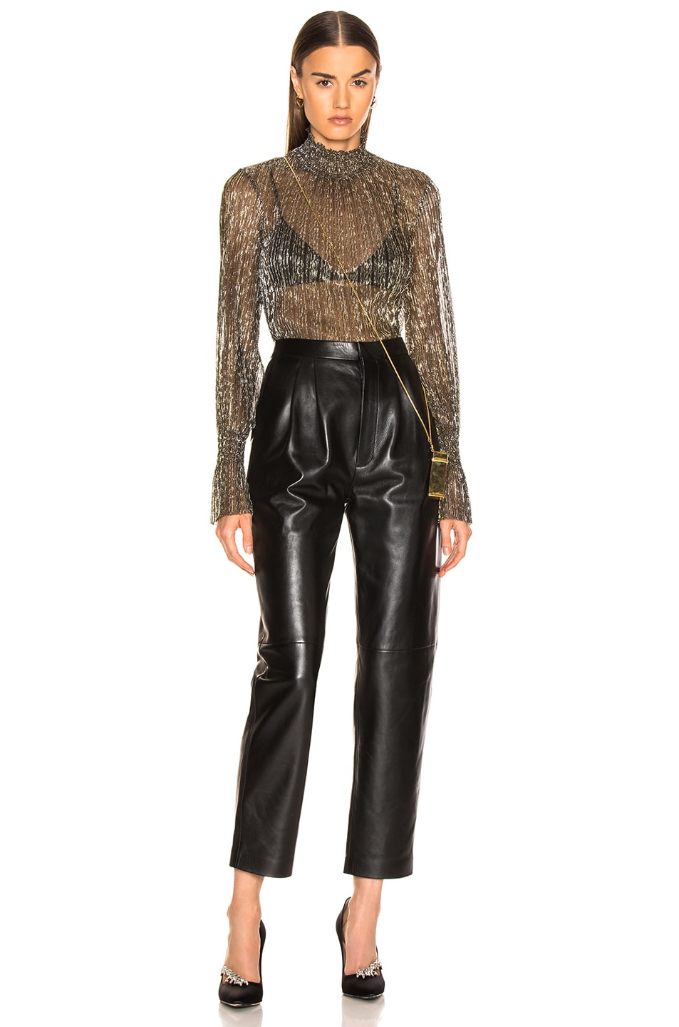 Image 4 of L'AGENCE Paola Long Sleeve Turtle Neck Blouse in Gold Metallic