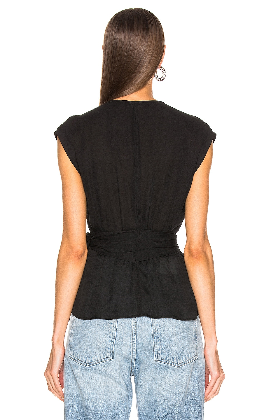 Image 3 of L'AGENCE Clemence Shirred Tie Blouse in Black