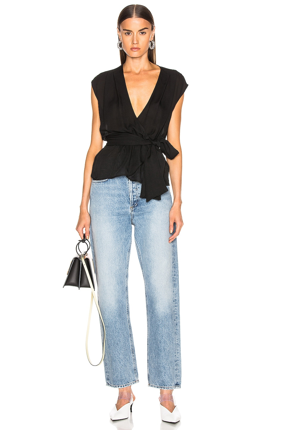Image 4 of L'AGENCE Clemence Shirred Tie Blouse in Black