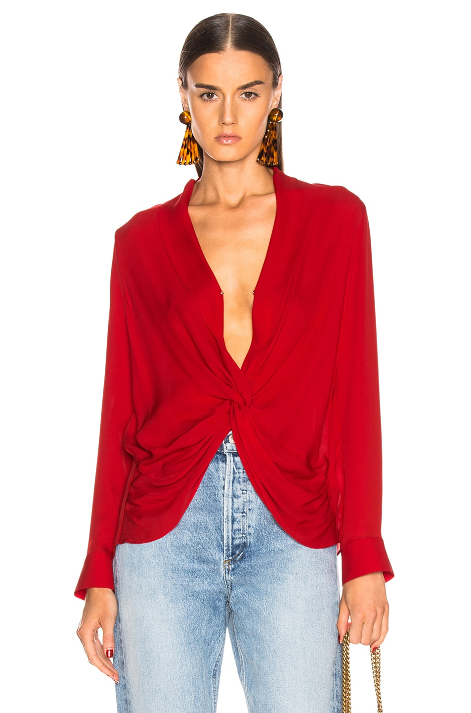 Image 1 of L'AGENCE Mariposa Blouse in Engine Red