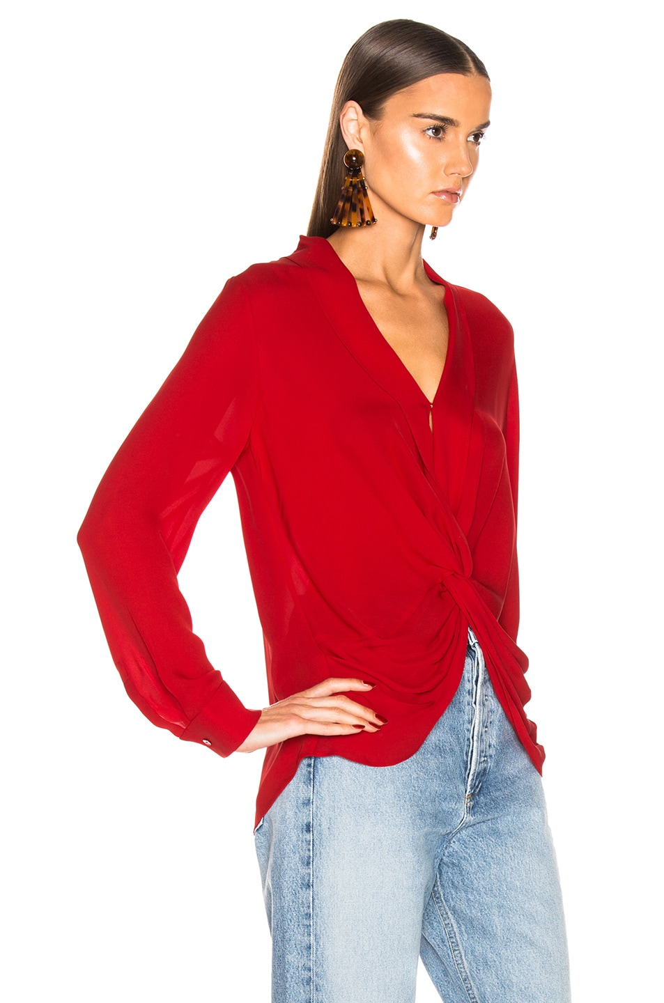 Image 2 of L'AGENCE Mariposa Blouse in Engine Red