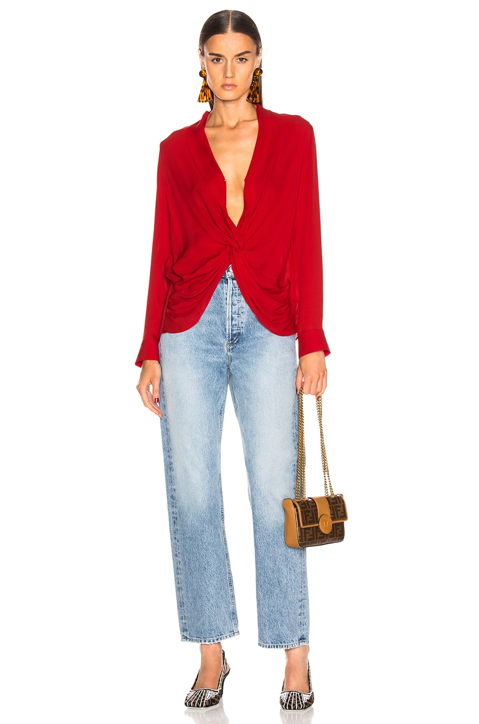Image 4 of L'AGENCE Mariposa Blouse in Engine Red